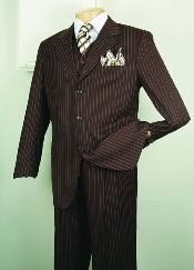 ID#5802V Chalk pronounce visible Gangster Superior fabric 150's Luxurious Fashion 3 ~ Three Piece suit Classic Stripe ~ Pinstripe Design Coco Chocolate brown