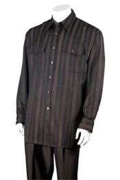 ID# NM14372 Men's Two Piece Brown 100% Polyester Striped Design Walking Suit