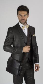 ID#RM1624 Notch Collared Coco Chocolate Shiny brown Inexpensive ~ Cheap ~ Discounted Clearance Sale Extra Slim Fit Prom Suit