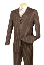 ID#5802V Coco Chocolate brown With Cream Pinstripe Vested 3 Piece 3 ~ Three Piece suit - Jacket + Pants + Vest