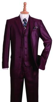 ID#SS-72 Wedding Burgundy Prom Outfit Notch Collared Jacket 3 ~ Three Piece buttons Fashion Suit w/ Pants Vest Combo Three Buttons Style suit