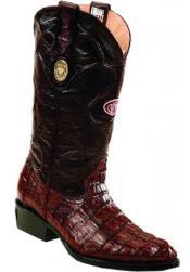 White Diamonds Handcrafted J Toe Genuine Caiman skin tale Burgundy Boots