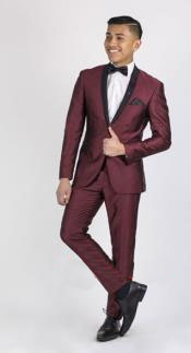 ID#RM1869 Mens Wine ~ Maroon Wedding Prom ~ Wedding Groomsmen Tuxedo / Graduation Homecoming Outfits Dark color black Lapeled Dinner Jacket Burgundy Suit