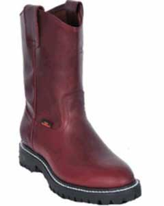 ID#KA1113 Authentic Los altos Grasso Nappa Work Boot with Full Lug Sole Burgundy ~ Maroon ~ Wine Color