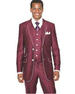 Mens Burgundy Double Breasted Suits | Dark Red Suit