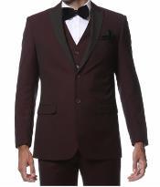 ID#MK427 Wedding Burgundy Prom Seacrest Style 3 Piece Slim Fit Prom ~ Wedding Groomsmen Tuxedo Alta- Moda Wine Maroon Wedding Prom