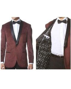 ID#AB130 Velvet Shawl Collar Dinner Smoking Velour Jacket Notch Lapel, Slim Fit Burgundy