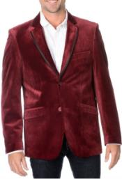 Burgundy men's Velvet Tuxedo Jacket Best Cheap Blazer Cheap Priced Unique Fancy Big Sizes on sale Affordable Sport Coats Sale With Dark color black Trim Collared Dinner Jacket
