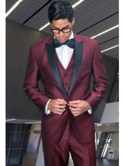 ID#RA66 Peak Collared 3 Piece Wool fabric Prom ~ Wedding Groomsmen Tuxedo Shiny Look Dinner Jacket Wedding Prom - Burgundy Suit