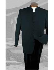 ID#DB24549 Button Closure Black 2 Piece Suit With Pleated Pants