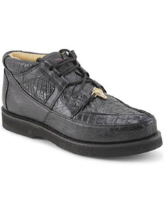 ID#MK867 Authentic Los altos Genuine Caiman skin & Ostrich Padded Collar Dark color black Cheap Priced Exotic Skin Formal Shoes For Men For Sale