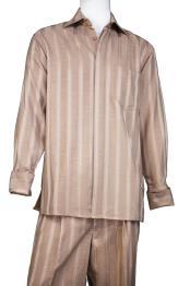 Buff Button Fastening Centerline Stripe Walking Suit