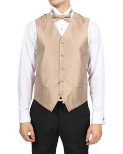 ID#PN_C3 Basic Solid Plain Champagne Pattern 4-Piece Wedding Vest For Groom and Groomsmen Combo Big and Tall  Large Man ~ Plus Size Suits
