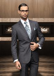 ID#UM18 TZ_Ber Pick Stitch Collar Slanted Pocket Two buttons Charcoal Masculine color Shadow Stripe ~ Pinstripe Suit