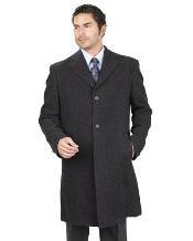 Long length Jacket With 2 Side Pocket Man Made FiberRayon Blend Unfinished Hem Dark Charcoal Masculine color men's Overcoat