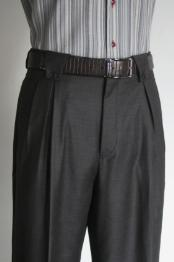 ID#KG5633 Superior fabric 150's Wool fabric Wide Leg Dress Pants / Slacks Dark Charcoal Masculine color