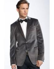 ID#DB20245 Dark Charcoal Gray 2 Button Slim Fit  Velvet Blazer