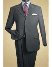 ID#KO17957 3 Buttons Albeto Nardoni Dark Charcoal Grey Pinstripe Wool Suit Pleated Pants