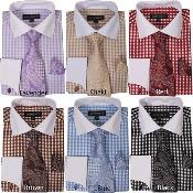 ID#PN78 Checker Dress Cheap Fashion Clearance Shirt Sale Online For Men French Cuff With Matching Cuff- Links Style Multi-Color