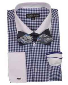 ID#SM489 Checks Cheap Fashion Clearance Shirt Sale Online For Men French Cuff With White Collared Contrast High Fashion Bowtie And Handkerchief Navy