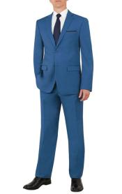 ID#MK683 Notch Collared Flat Front Pants ~ Cobalt Blue ~ Indigo Inexpensive ~ Cheap ~ Discounted Clearance Sale Extra Slim Fit Prom Mens Teal Suit