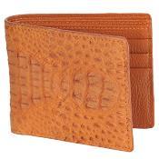 ID#KA3113 Carteras Caiman skin ~ Gator skin Lomo Wallet – Cognac