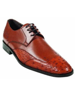 ID#MK919 Ostrich Full Quill Skin Light Brown ~ Cognac Dress Cheap Priced Exotic Skin Shoes For Sale For Men