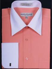 Daniel Ellissa Two Tone Coral French Cuff Dress Inexpensive ~ Cheap ~ Discounted Fashion Clearance Shirt Sale Online For Men Big and Tall  Large Man ~ Plus Size Suits Sizes 18 19 20 21 22 Inch Neck