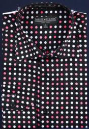 ID#AC-433 Dotted Fancy Cotton Dress Cheap Fashion Clearance Shirt Sale Online For Men With Button Cuff Dark color black / Fuschia