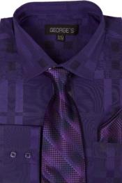 ID#SW961 Cotton Geometric Pattern Dress Cheap Fashion Clearance Shirt Sale Online For Men with Tie and Handkerchief Purple pastel color