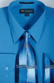 Milano Moda Classic Cotton Dress Cheap Fashion Clearance Shirt Sale Online For Men with Ties and Handkerchiefs Royal Light Blue Perfect for wedding
