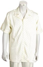 ID#KA0098 Leisure outfits walking Suit 2 Piece Short Sleeve outfits walking Suit - Buttoned Accents Cream-Rust