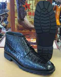 ID#AC-882 Genuine All crocodile Botines Para Hombre skin Caiman skin Formal Shoes For Men Dark color black Ankle Boot