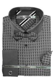 ID#M2K3W Daniel Ellissa Ds3779BP2 French Cuff Dress Cheap Fashion Clearance Shirt Sale Online For Men Gray