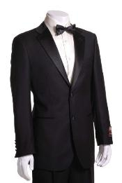 ID#SL3748 Side Vented Jacket & Flat Front Pants Tuxedo - Superior fabric 150's Fabric Dark color black