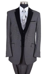 ID#AC-818 Two Tones Tuxedo Dark color black Lapeled Vested Prom ~ Groomsmen Tuxedo 2020 Gray / Prom Best Cheap Blazer For Men Affordable Sport Coats Sale And Perfect For Wedding
