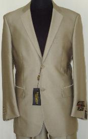 2-Button Shiny Beige Sharkskin