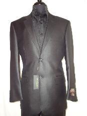 ID#BLAC7511 Designer 2-Button Shiny Dark color Black Wedding / Prom Sharkskin Suit