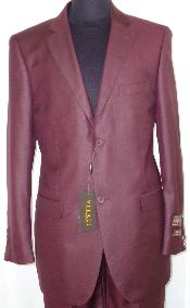 ID#BGY5235 Designer 2-Button Shiny Wedding Burgundy Prom ~ Maroon Wedding Prom ~ Wine Color Sharkskin Suit
