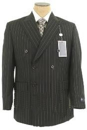 ID# ZD22 Jet Dark color black & Chalk White Pinstripe Striped Double Breasted Comes in 3 Colors