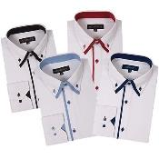 ID#PN70 Button Stylish Dress Cheap Fashion Clearance Shirt Sale Online For Men Double Collar Style Multi-Color
