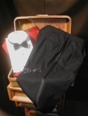 ID#QY50L Superior fabric 100s Wool fabric Double Pleated creased Dark color black Tuxedo Pants