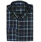ID#SM496 Dress Cheap Fashion Clearance Shirt Sale Online For Men Long length Sleeve Plaids And Checks Pattern Dark color black