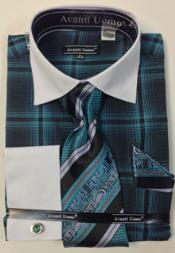 ID#RM1281 Avanti Uomo French Cuff Big and Tall  Large 18 19 20 21 22 Inch Neck Man ~ Plus Size Suits pronounce visible Windowpane Dress Shirt Combo With Tie, Hanky and Cuff Links Teal