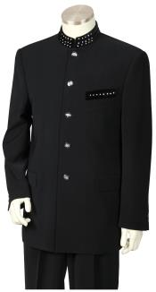5 Button Military Style Mandarin / Nehru Prom ~ Wedding Groomsmen Tuxedo Suit with Sparkling Accents Dark color black