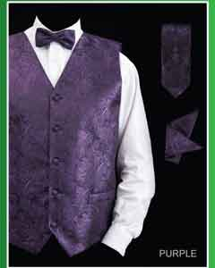 ID#PSJ8 4 Piece Groomsmen Wedding Vest ~ Waistcoat ~ Waist coat For Groom and Groomsmen Combo (Bow Groomsmen Ties,Hanky) - Paisley Design Purple pastel color