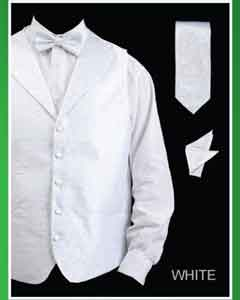 ID#WTW22 4 Piece Groomsmen Wedding Vest For Groom and Groomsmen Combo (Bow Groomsmen Ties, Neck Tie, Hanky) - Lapelled Vest White