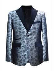 ID#DB24625 2 Button Floral ~ Flower Design Silver Sport Coat Blazer