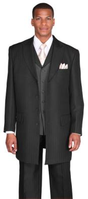 "ID#KA9265 four buttons 3 Piece 4 Herringbone Tweed Pattern 36"" Length Jacket Stripe ~ Pinstripe Dark color black"