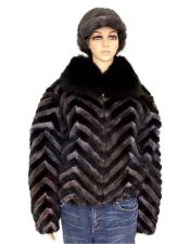 Chevron Mink Jacket With